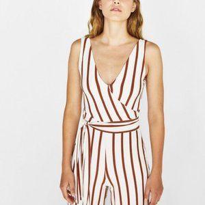 Bershka striped culottes jumpsuit